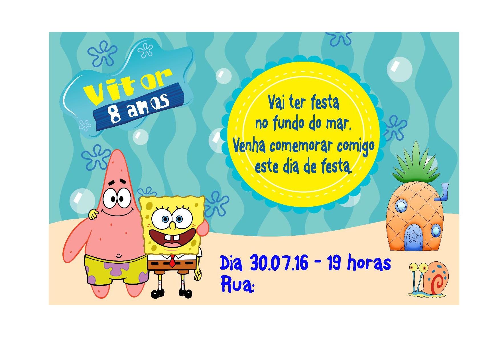 Convite Tema Bob Esponja No Elo7 Mimos De Mamães 76de50