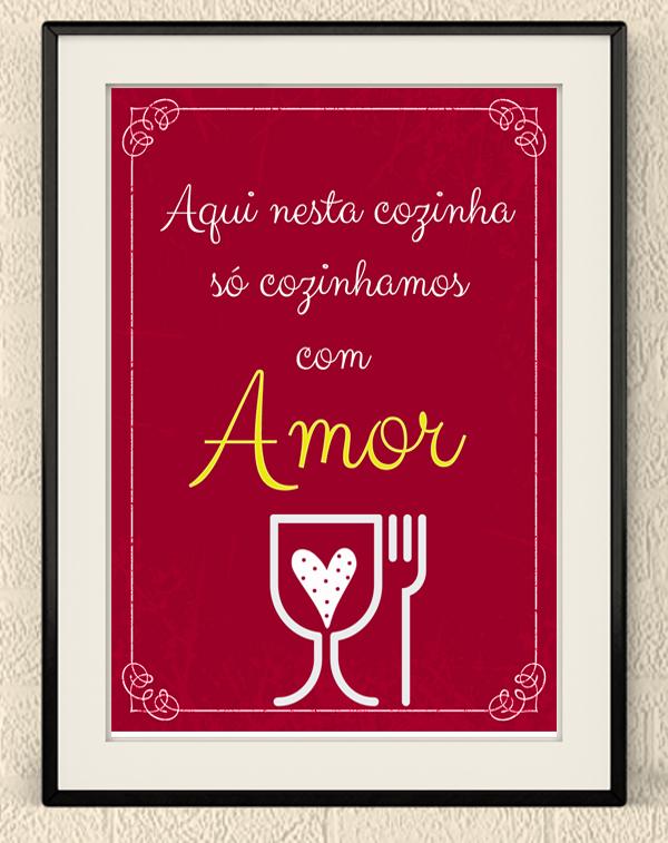 Excepcional Quadro Amor Frases para Cozinha | Elo7 TN47