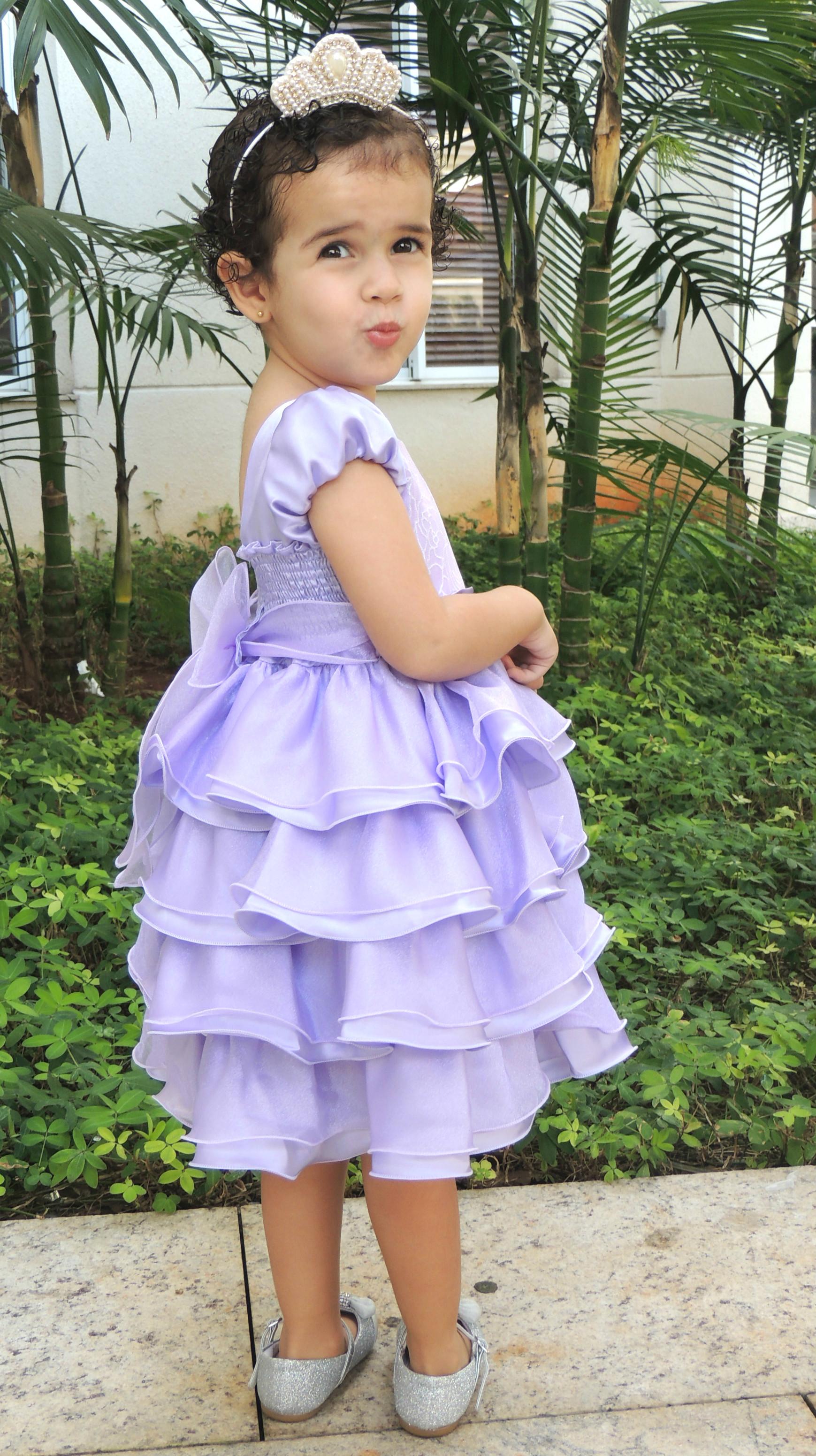 Vestido Princesa Sofia Lilás Com Brilho