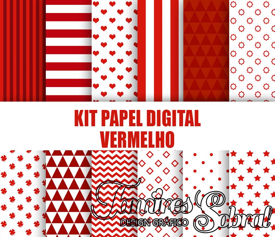 51892f4ea5b Kit Papel Digital Vermelho Listrado