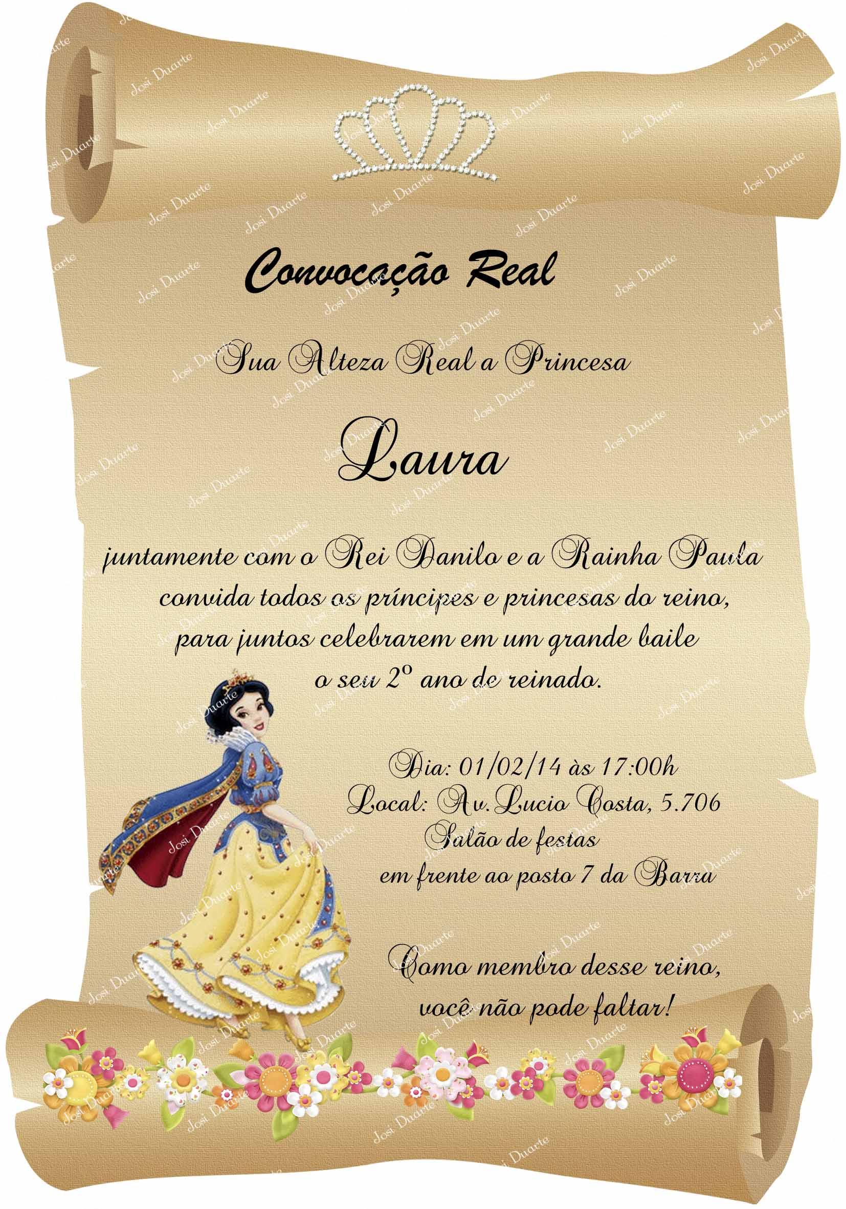 Convite Pergaminho Branca De Neve