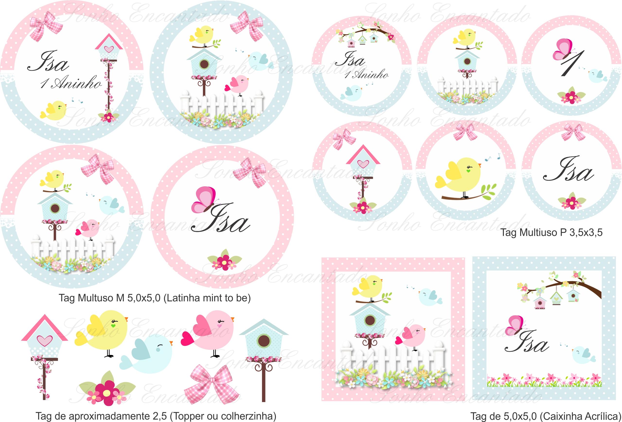 kit digital passarinho azul e rosa no elo7 sonho encantado