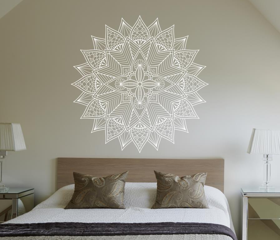 Adesivo de parede Mandala branca 60cm Lojadecoreacasa Mandalas Elo7