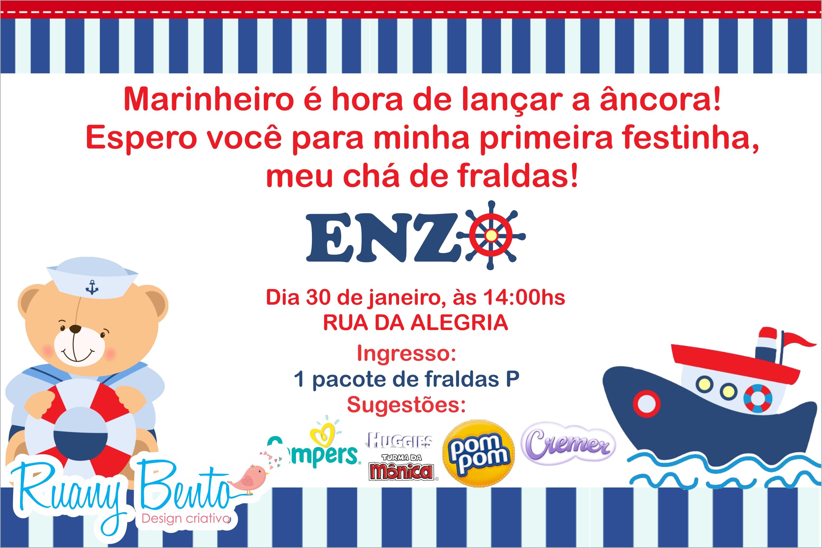 Top Convite chá de fraldas URSO MARINHEIRO no Elo7   Ruany Bento (77F625) MZ29