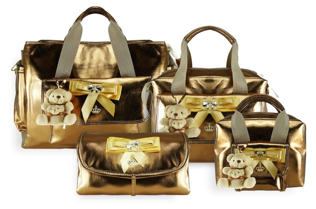 Bolsa Dourada De Maternidade : Kit bolsa maternidade pe?as dourada beb? enxovais elo
