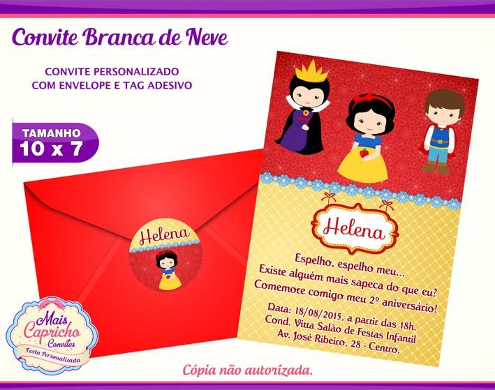 Convite Branca De Neve Baby Elo7