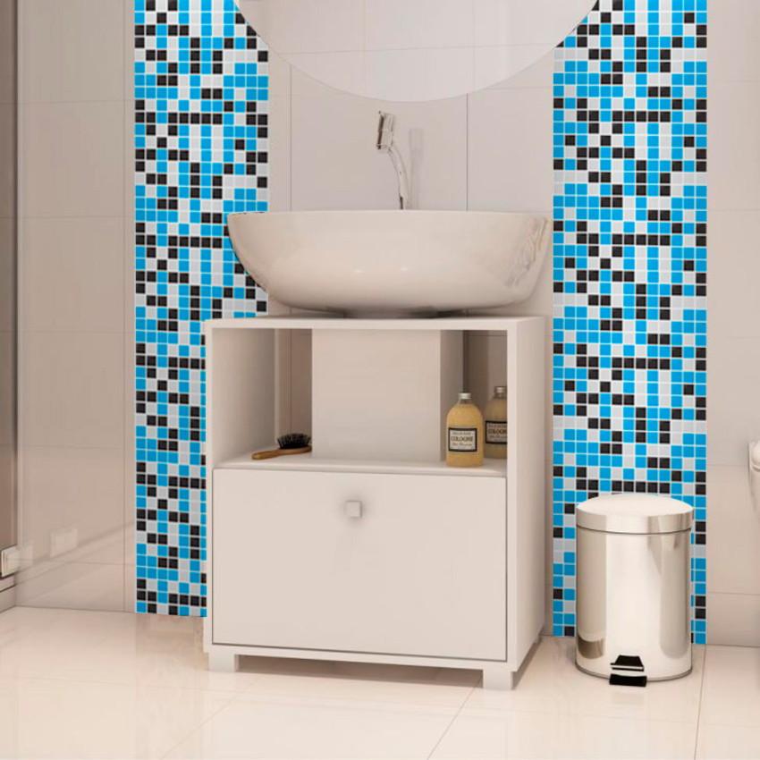 Aparador Rommanel ~ Adesivo de azulejo Pastilha Azul Preto B Yeh Stock Elo7