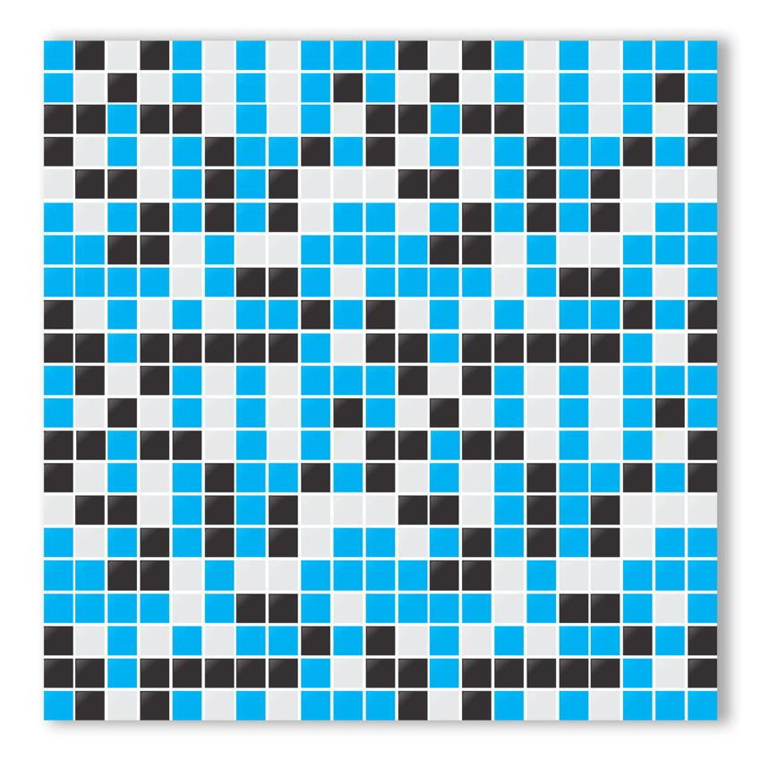 Artesanato Yotube ~ Adesivo de azulejo Pastilha Azul Preto B Yeh Stock Elo7