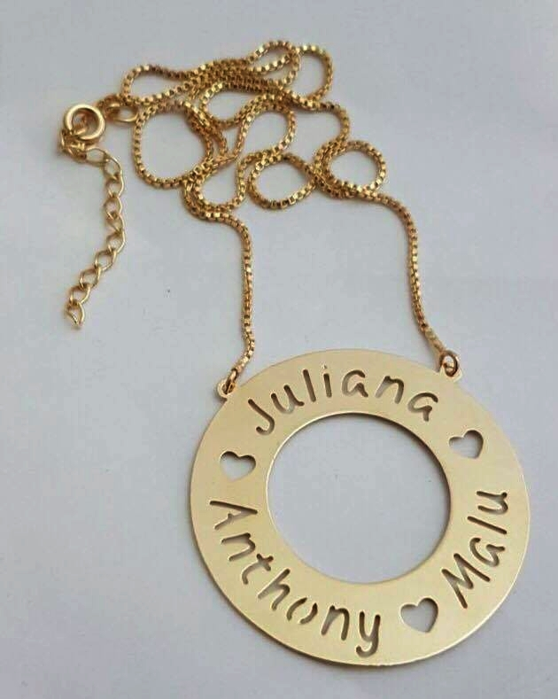 Colar Mandala Nomes Vazados Banhado Ouro no Elo7   Figurine Acessórios  (791457) 0bc54bbf52