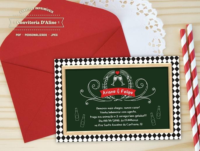 Convite Cha Bar Chalk Digital No Elo7 Conviteria Daline 793a40