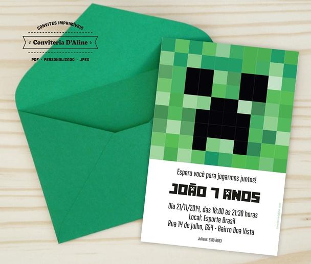 Convite Minecraft Digital No Elo7 Conviteria Daline 795ed4