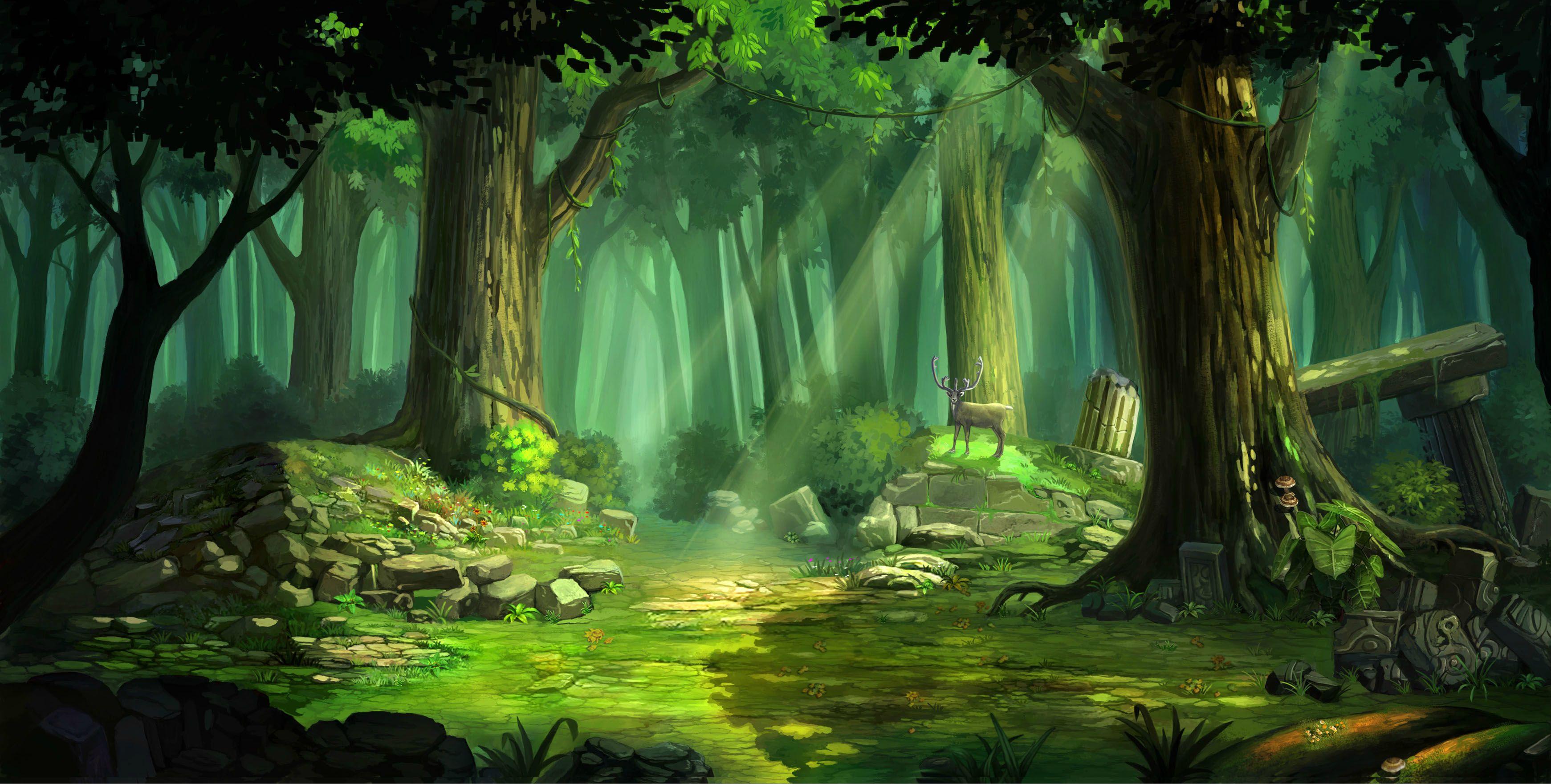 Sombras Rastejantes Painel-de-festa-floresta-3-painel-em-tecido