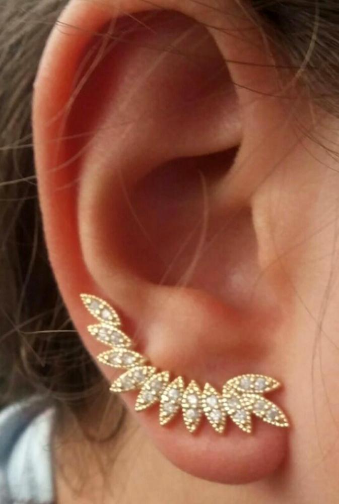 f56d23759ca5c Brinco Ear Cuff Folhas Dourado no Elo7   Drusi Semi Joias e Acessórios  (79732D)