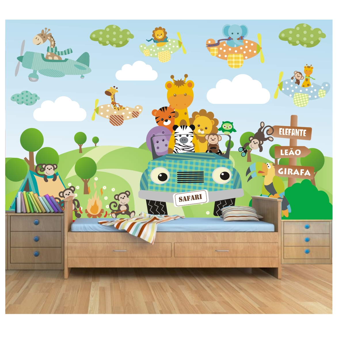 Papel parede infantil zoo safari 6m 21 for Papel pared infantil