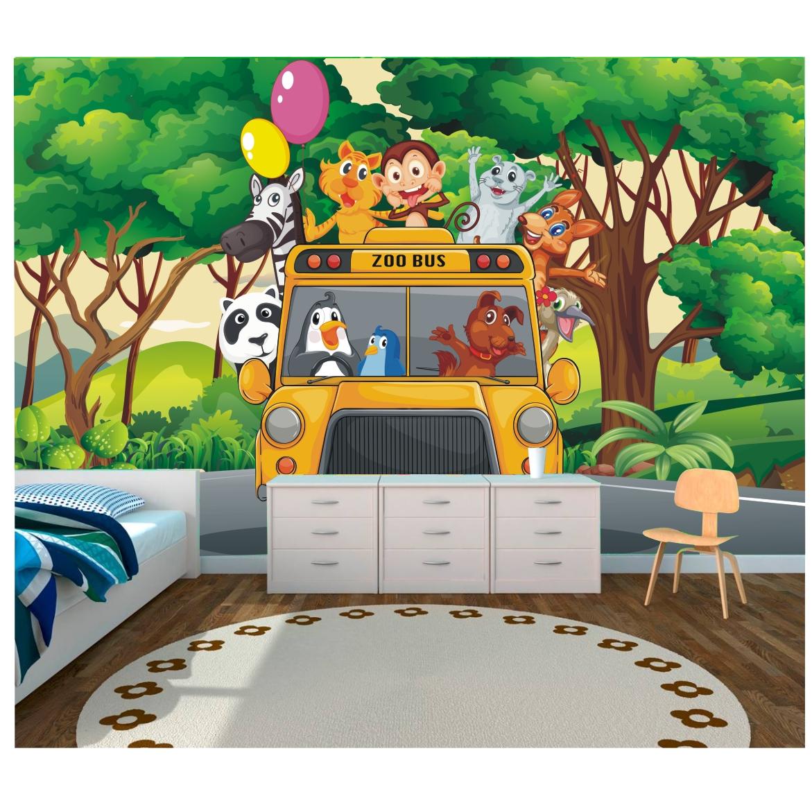 Papel parede infantil zoo safari 6m 45 for Papel pared infantil