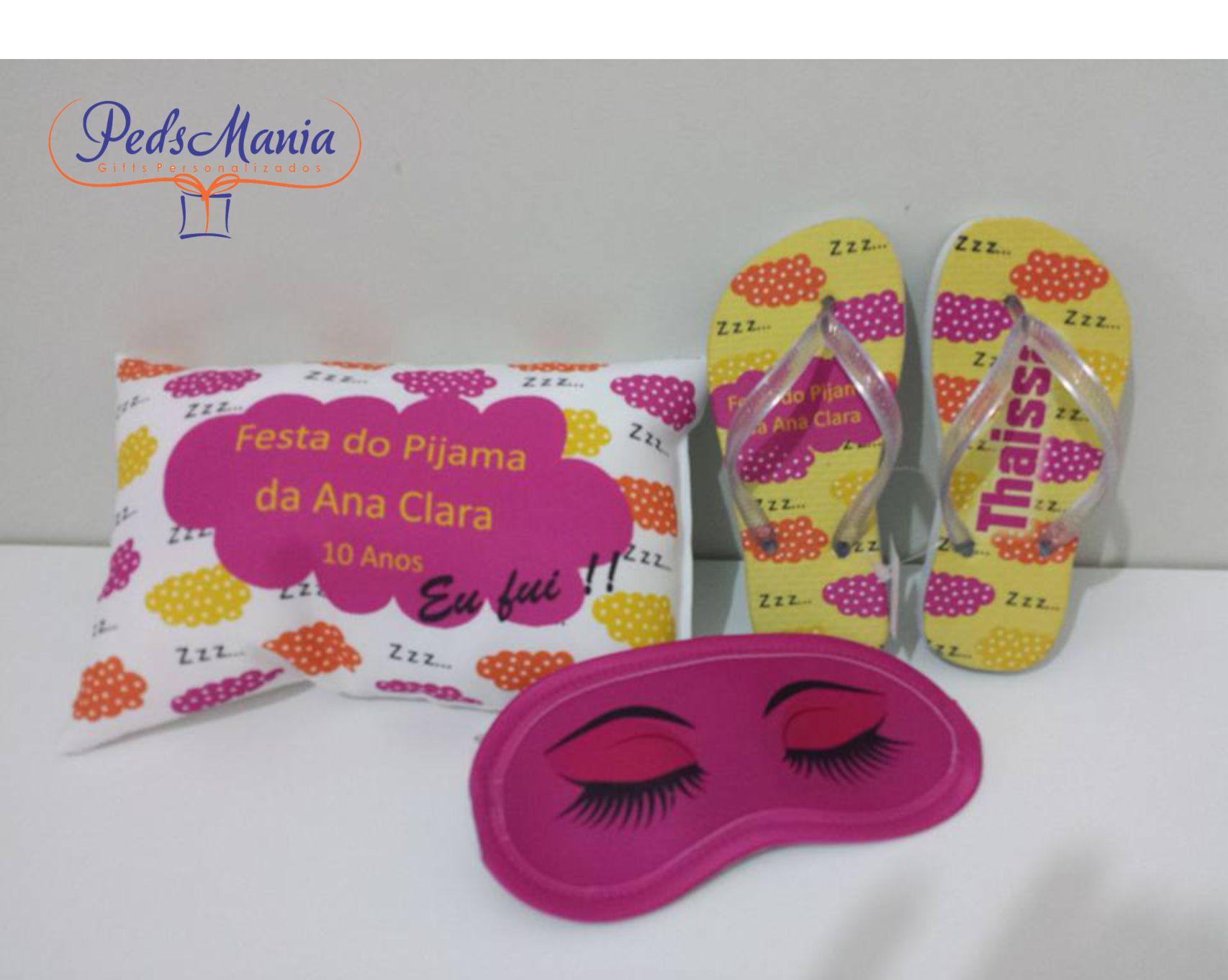 2b6891617c9ae8 Kit Festa do Pijama Paris Chinelo Almofada Tapa Olhos | Elo7