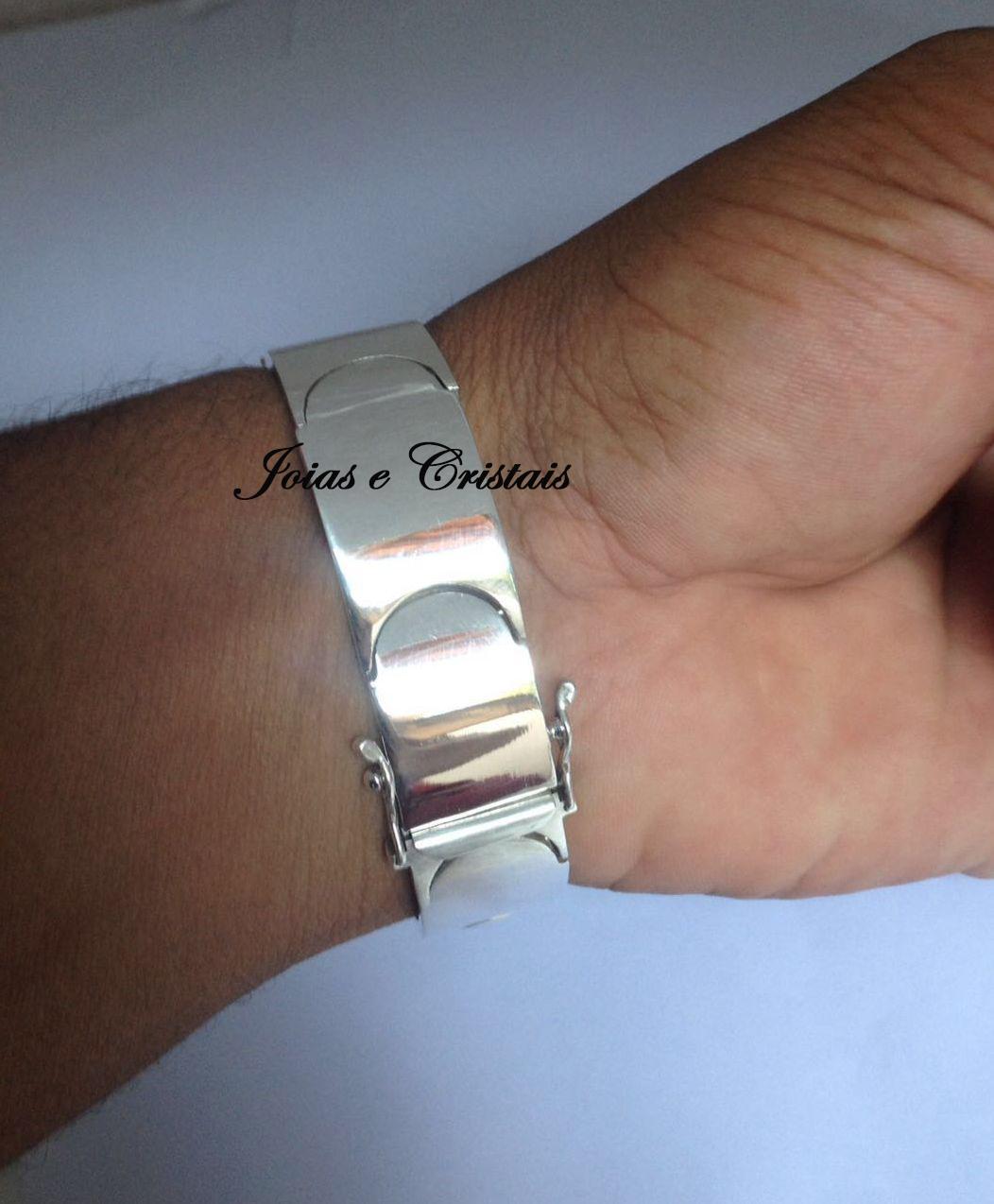 4d456633bc6c0 Bracelete Pulseira Masculino Prata 950 no Elo7