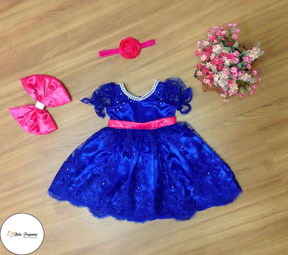 95cf0a3646 Vestido Luxo Perolas Galinha Pintadinha Azul com Rosa