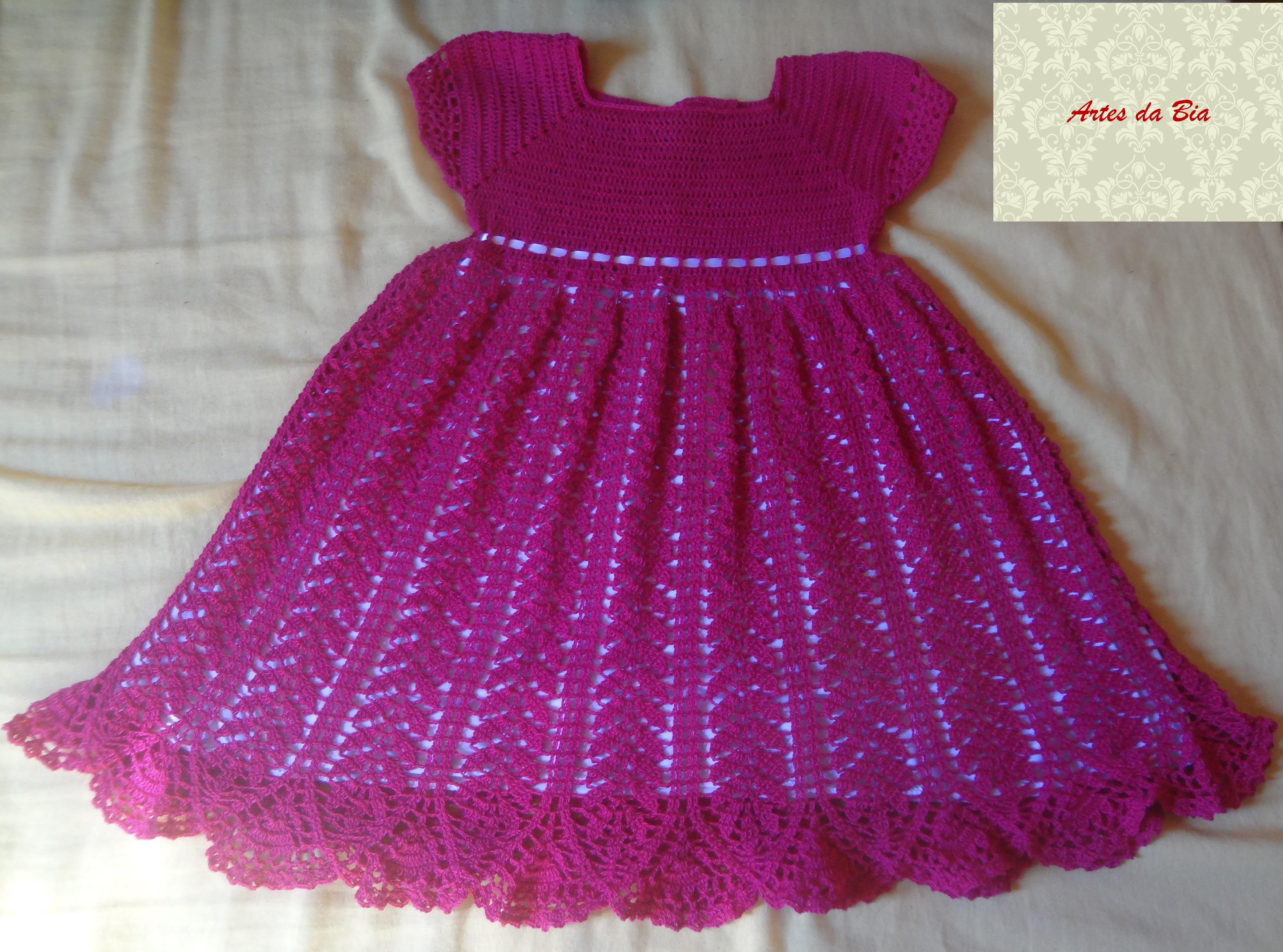 Muitas vezes Vestido crochê infantil no Elo7 | Artess da Bia (7A9E6A) HZ89