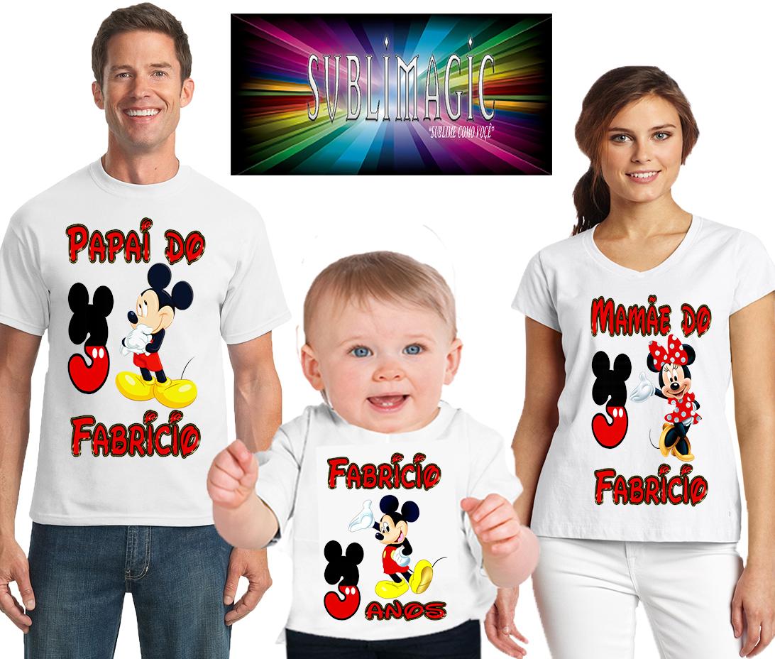 55e36bc17821 Kit Camisetas Familia Mickey Mouse   Elo7