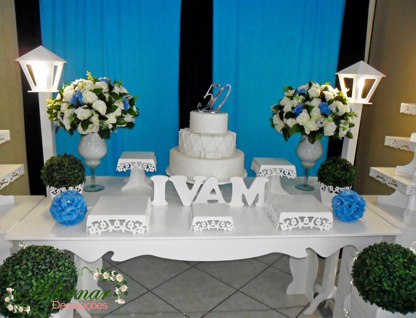 a63e45806ff7 Aluguel Decoração Aniversário Festa Mesa Bolo 50 Anos Azul no Elo7 |  Adornar Decorações Para Festas e Eventos (7AE5CD)