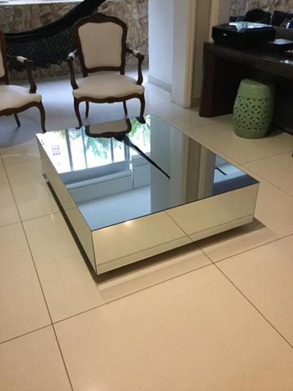 Mesa de centro espelhada sala de estar jm decorart elo7 - Mesa de centro sala ...