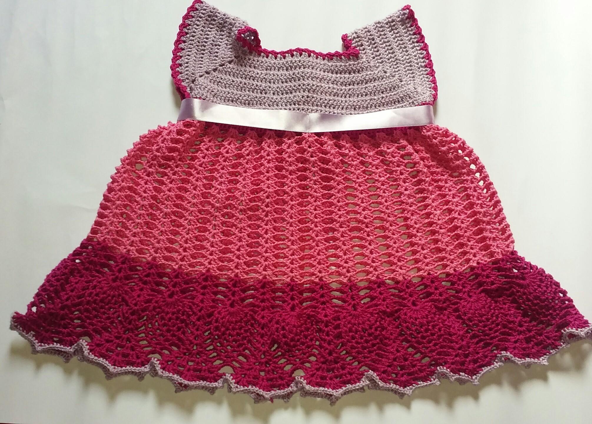 62221e94b2da Vestido em Crochê para Bebê de 1 Mês   Elo7