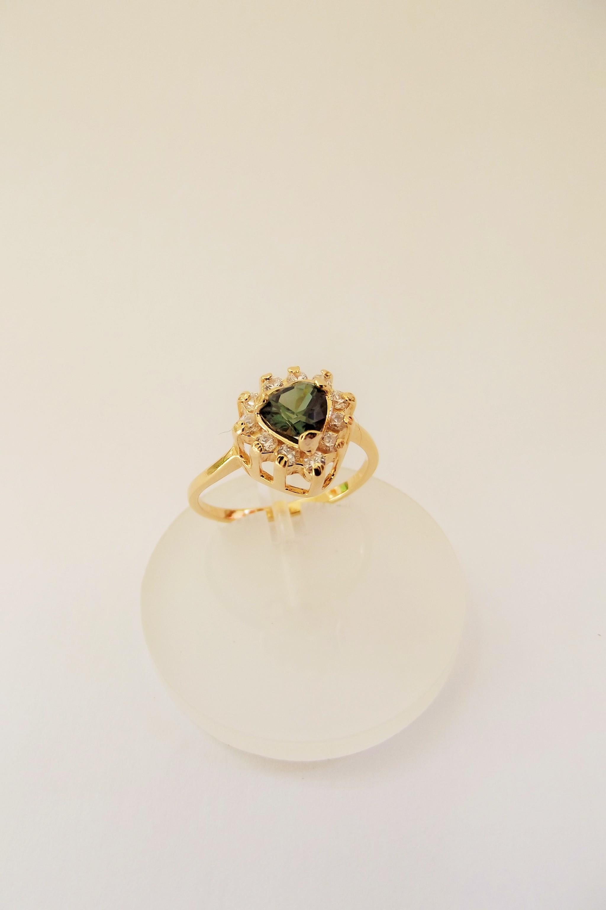 Anel Chuveiro Pedra Rosa Safira com Zirconias Brancas   Elo7 e351ee1ba3