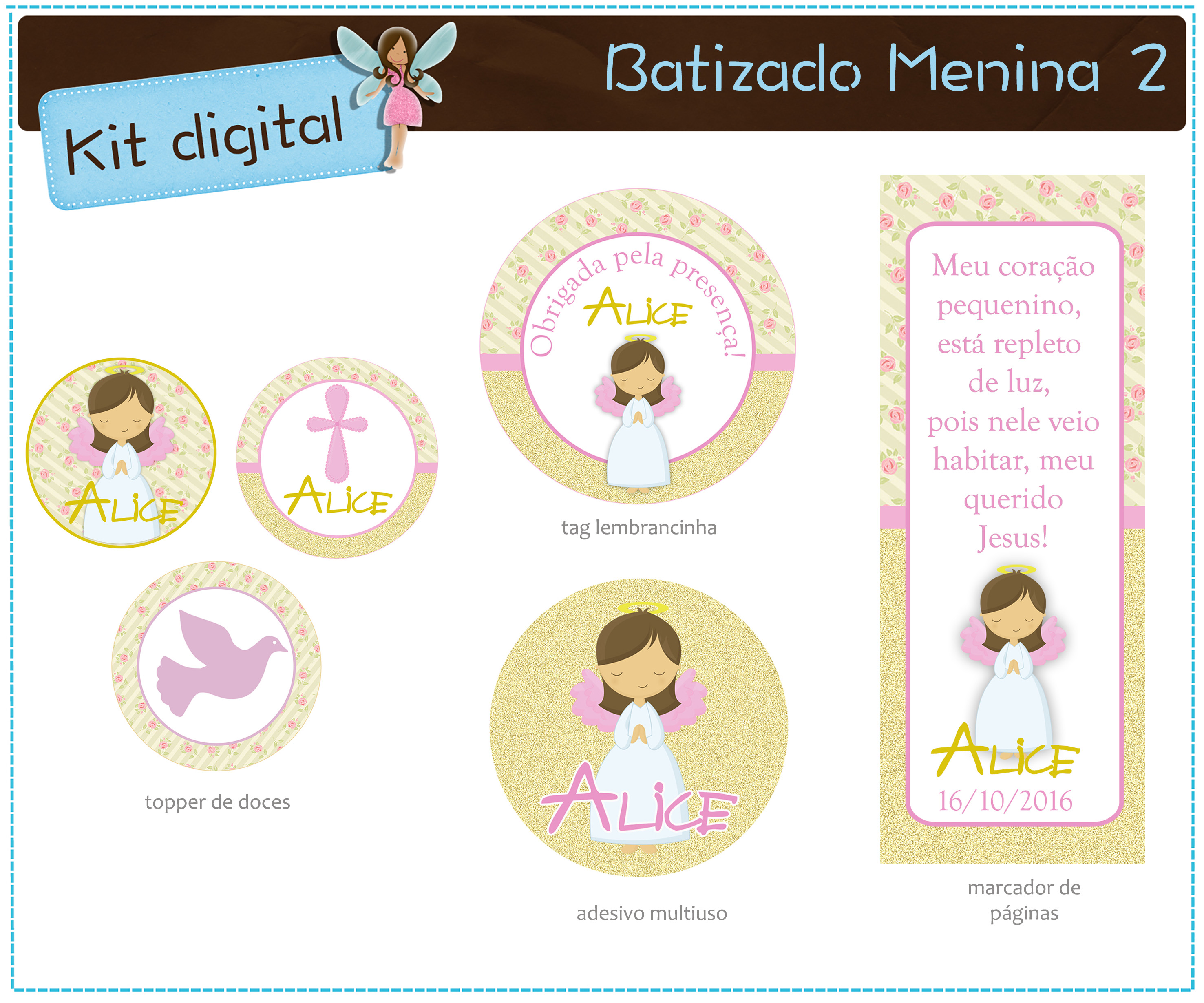 Kit Batizado Menina Para Imprimir No Elo7 Atelier Doces Mimos