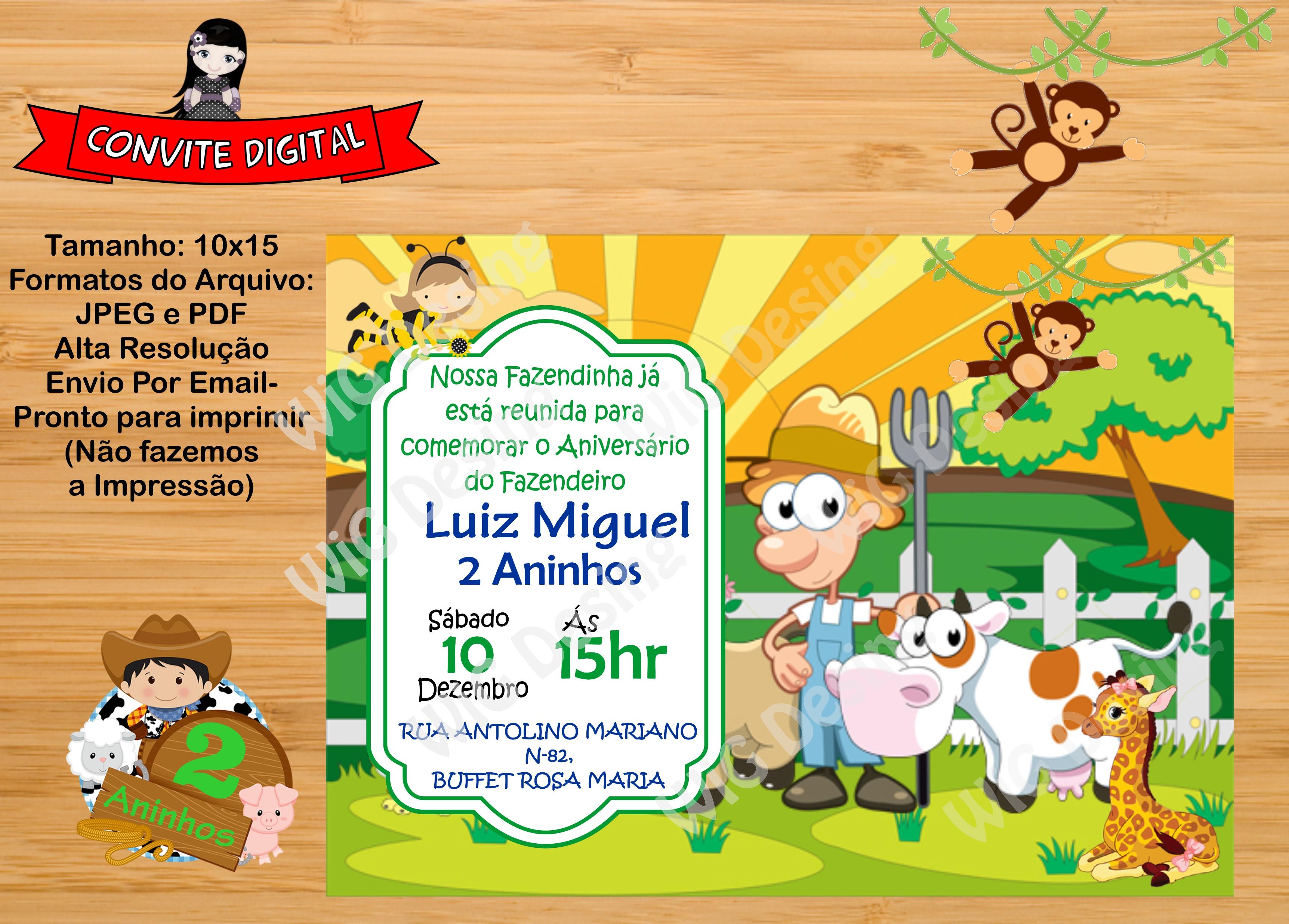 Convite Fazendinha Digital No Elo7 Wig Design 7c02a1