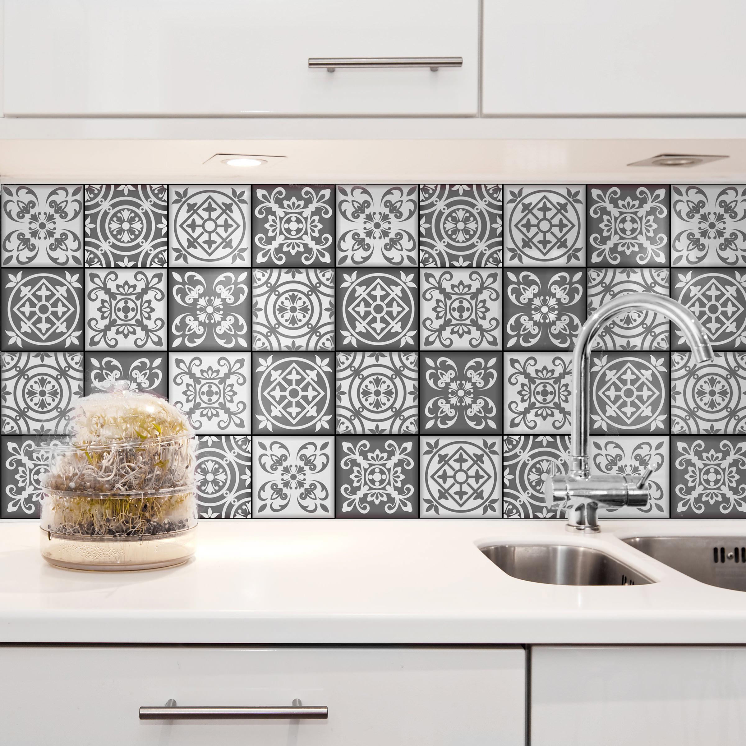adesivo azulejo 20x20 cinza branco 24un quartinhos elo7