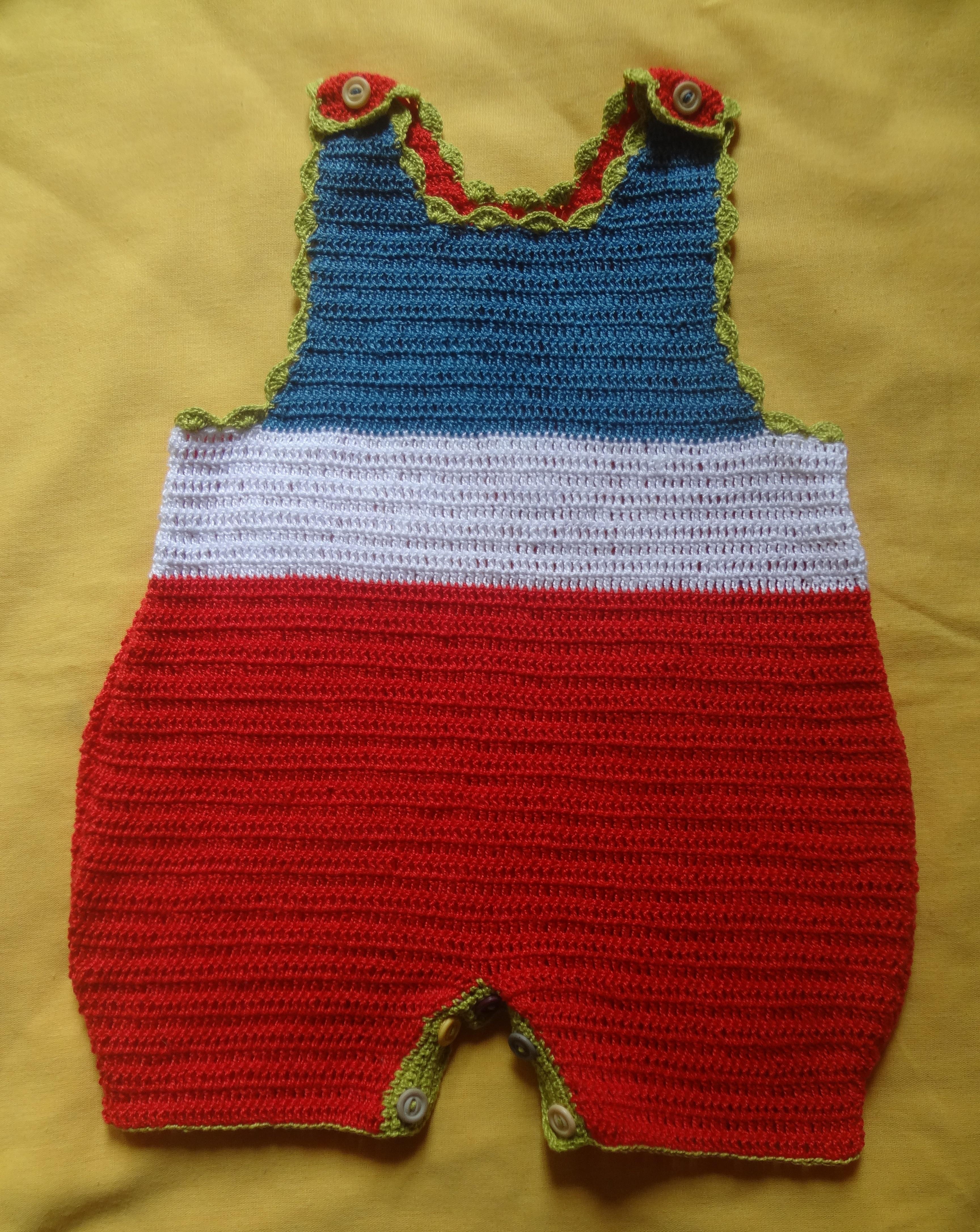 Jardineira para beb em croch artess da bia elo7 for Jardineira infantil c a