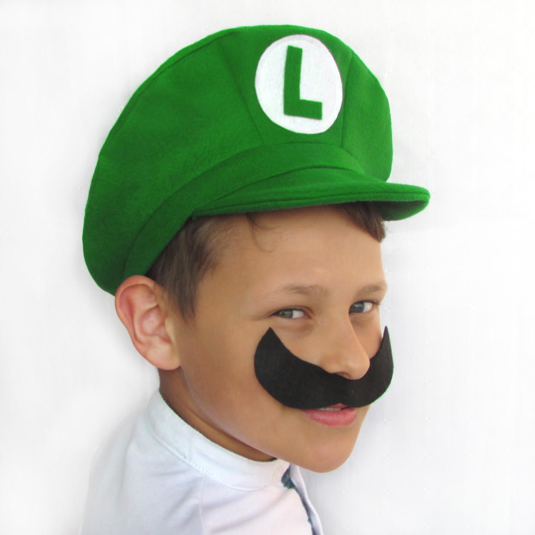 02 un. Boina   Chapéu   Boné Super Mario Bros e Luigi Feltro no Elo7 ... c1679272dd5
