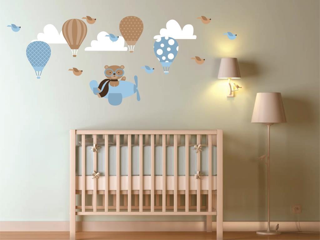 Adesivo de parede ursinho aviador Quarto de Criança  ~ Adesivos De Parede Para Quarto De Bebe Ursinho