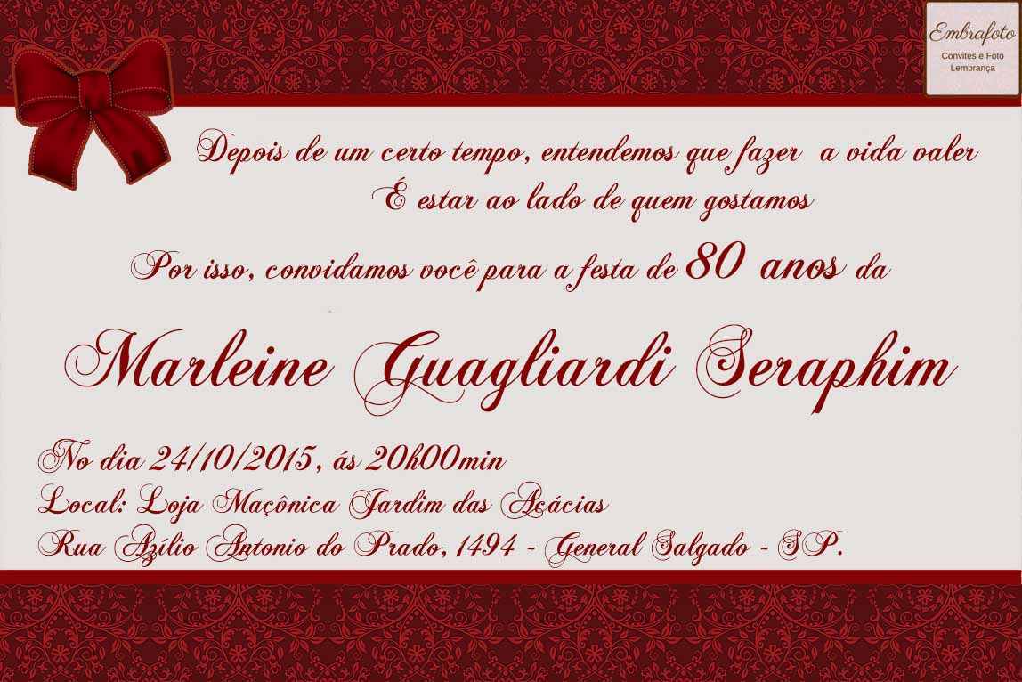 Convite Aniversário 80 Anos Vermelho