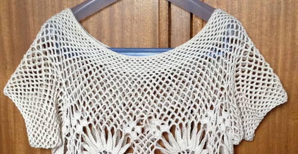 6c34635c0b4fb Blusa Crochet Margaridas no Elo7