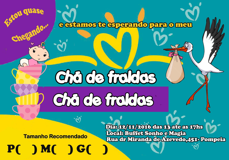 Convite Cha De Fraldas 10x7 Cm Elo7