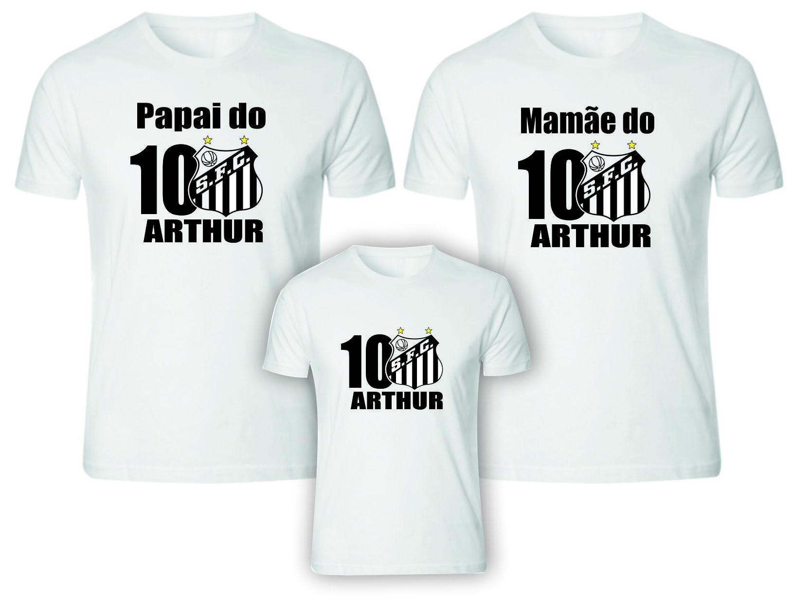 09702b2b72048 Camisetas Aniversário futebol Santos no Elo7