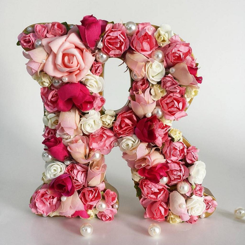 Armario Planejado Banheiro ~ Letras decoradas com flores e pérolas Baby Chic Ateli u00ea Elo7