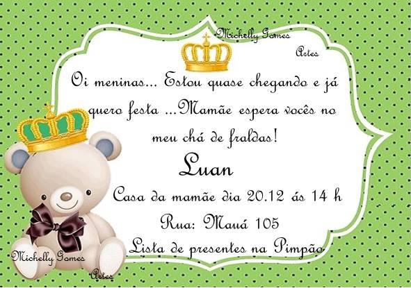 Convite Chá Fraldas Ursinho Príncipe 1 No Elo7 Michelly Gomes