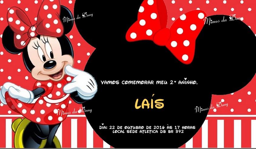 Arte Convite Minnie Vermelha Elo7