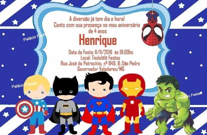Convite Super Herois No Elo7 Palácio Festas Brinquedos 79bd96