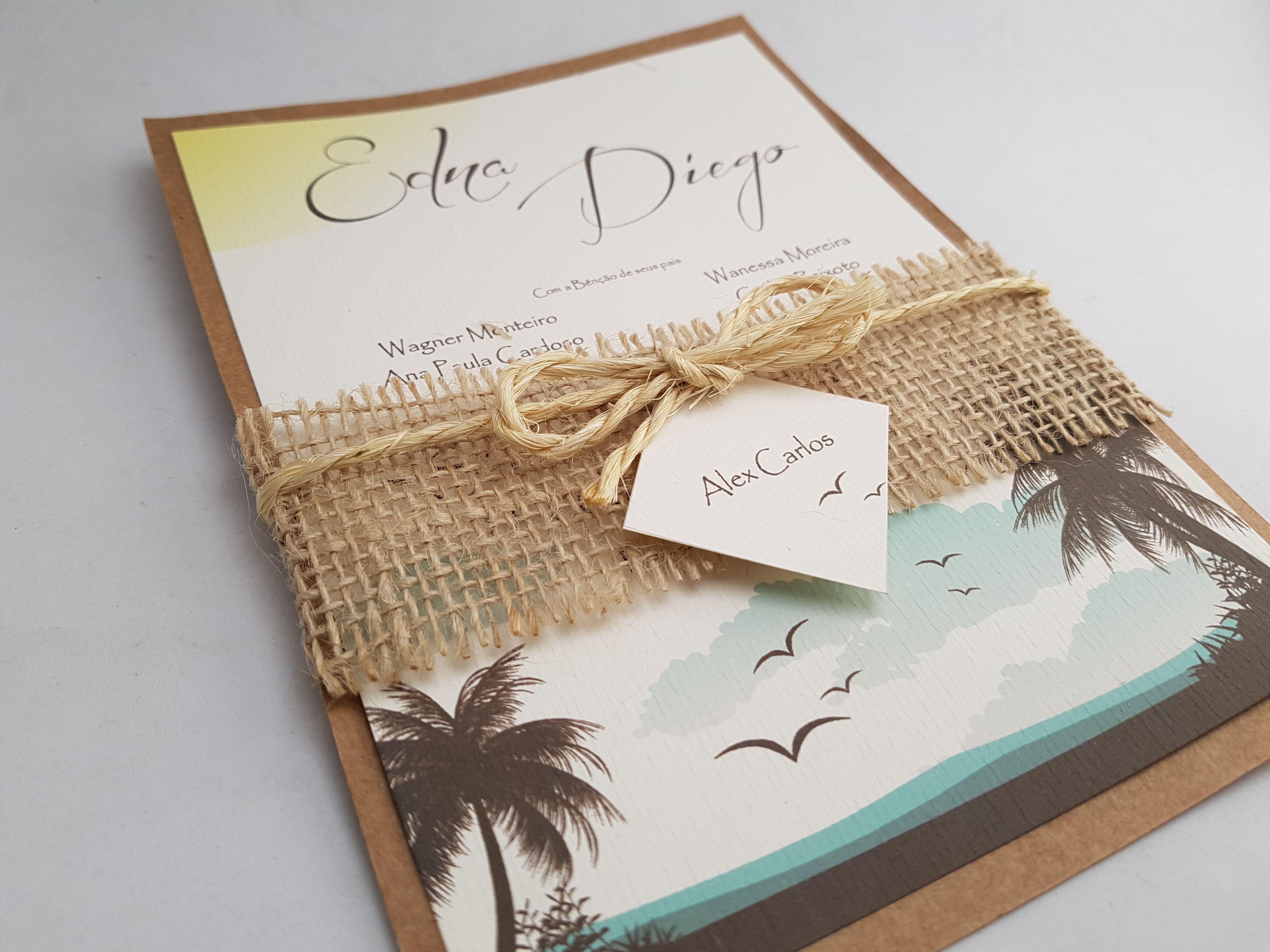 convite de casamento r stico na praia atelie da lola convites elo7. Black Bedroom Furniture Sets. Home Design Ideas