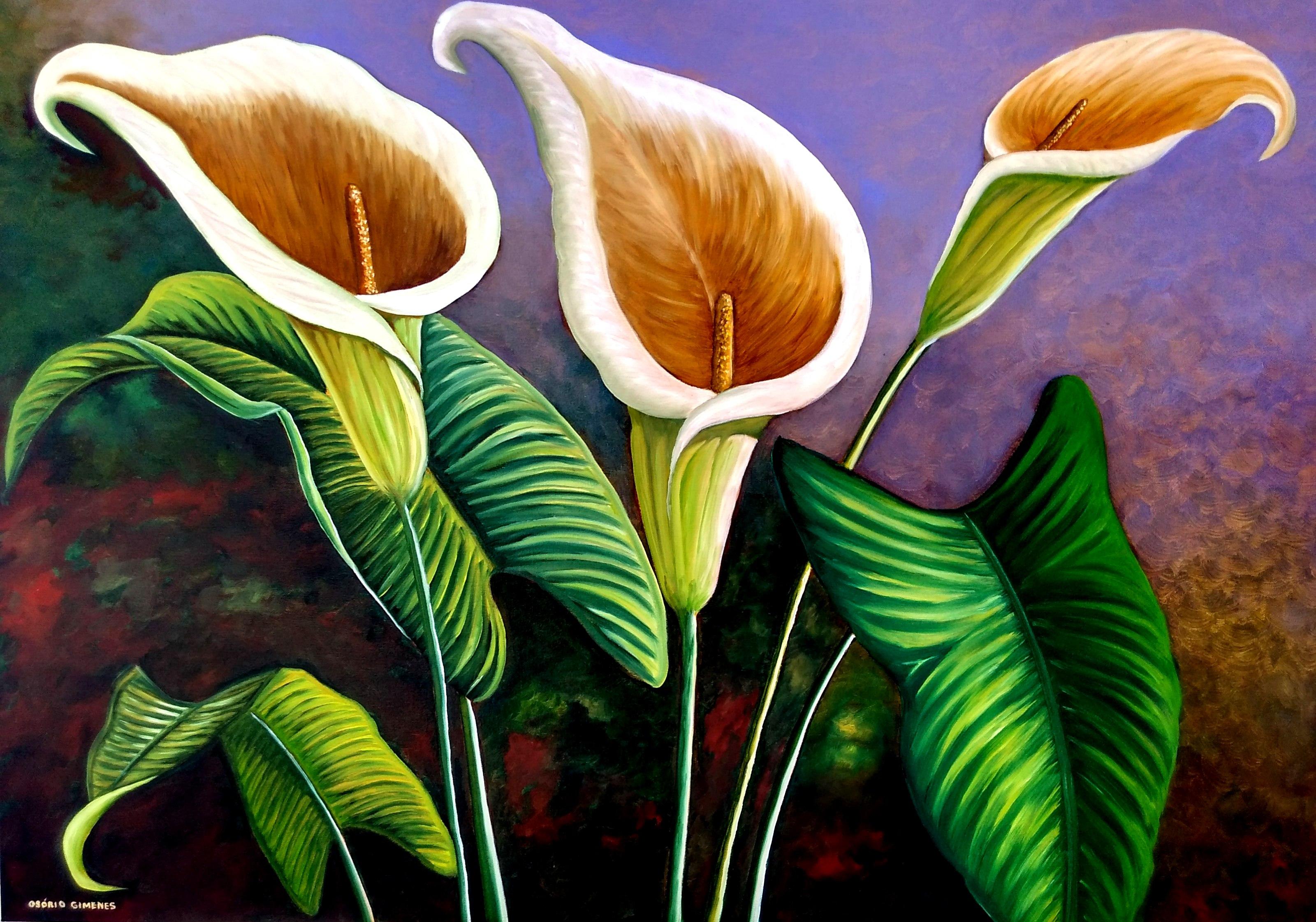 Quadro Pintura Em Tela Flores 70x100