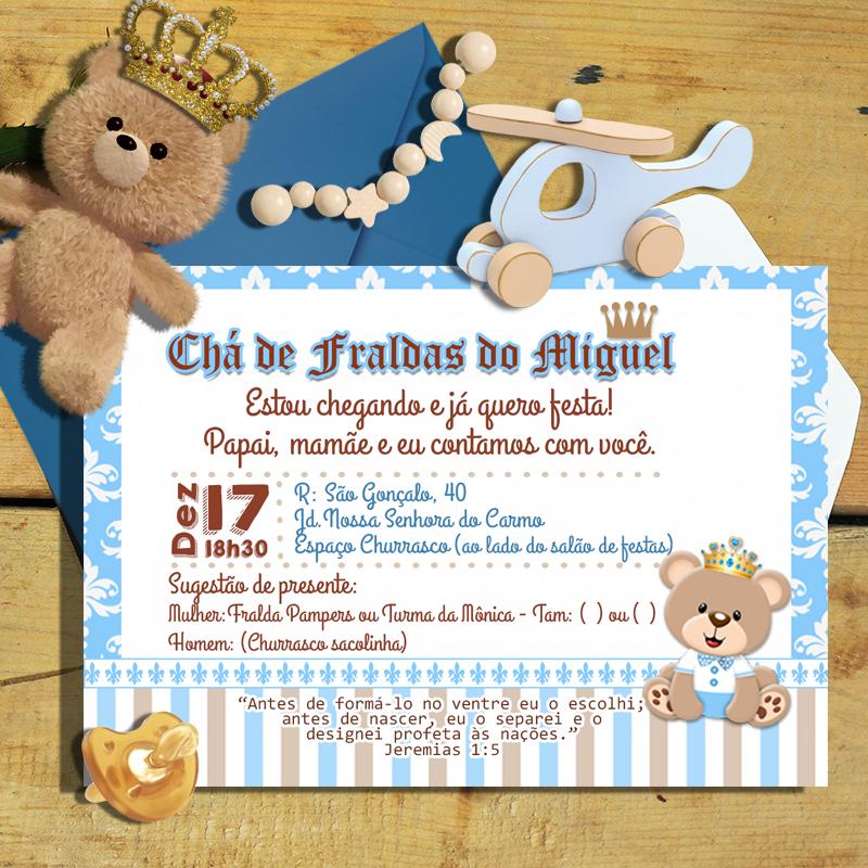 Convite Chá De Bebê Ursinho Príncipe No Elo7 Artecompany 8004dc