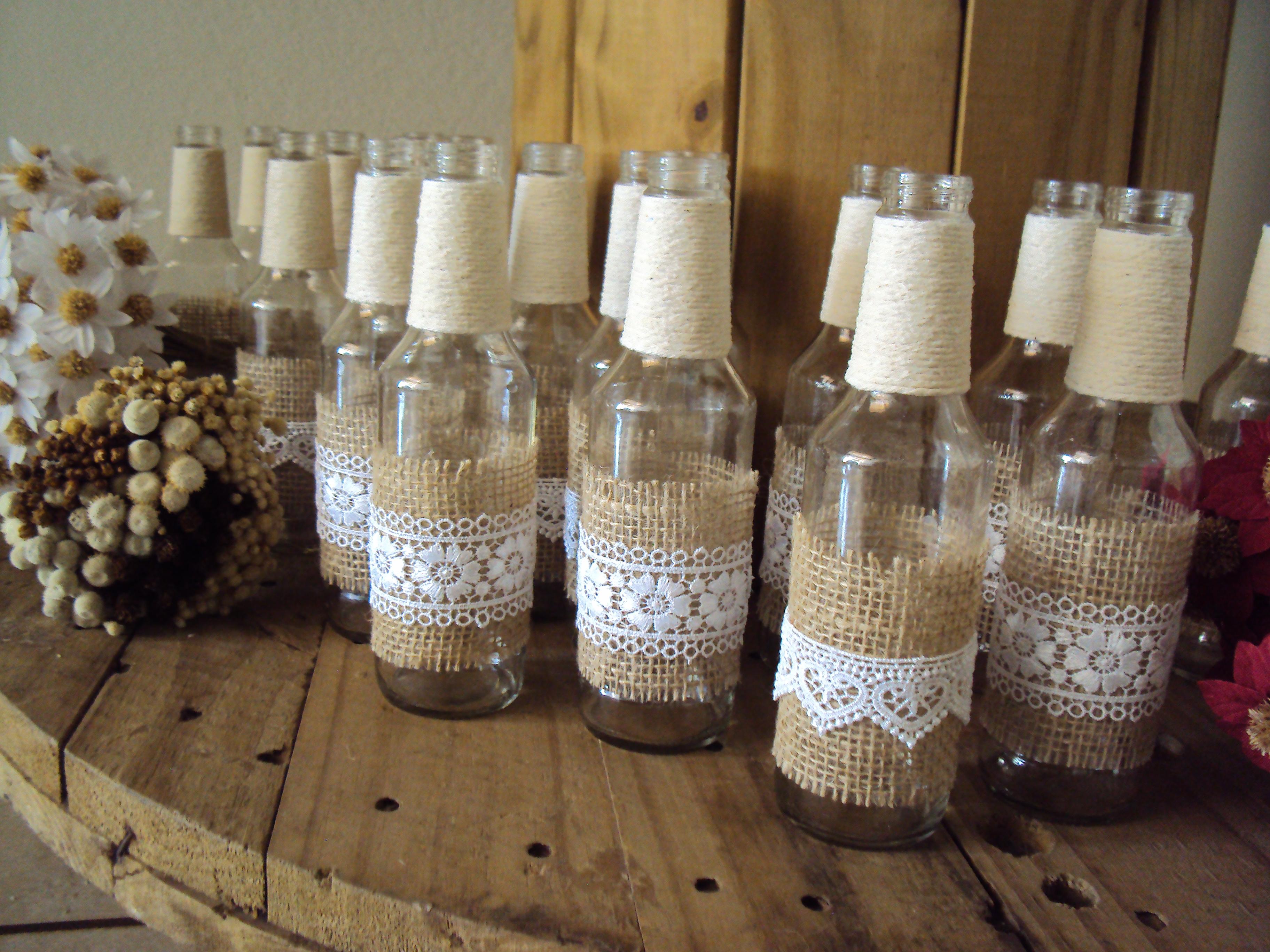 Resultado de imagem para garrafas rústicas para casamento