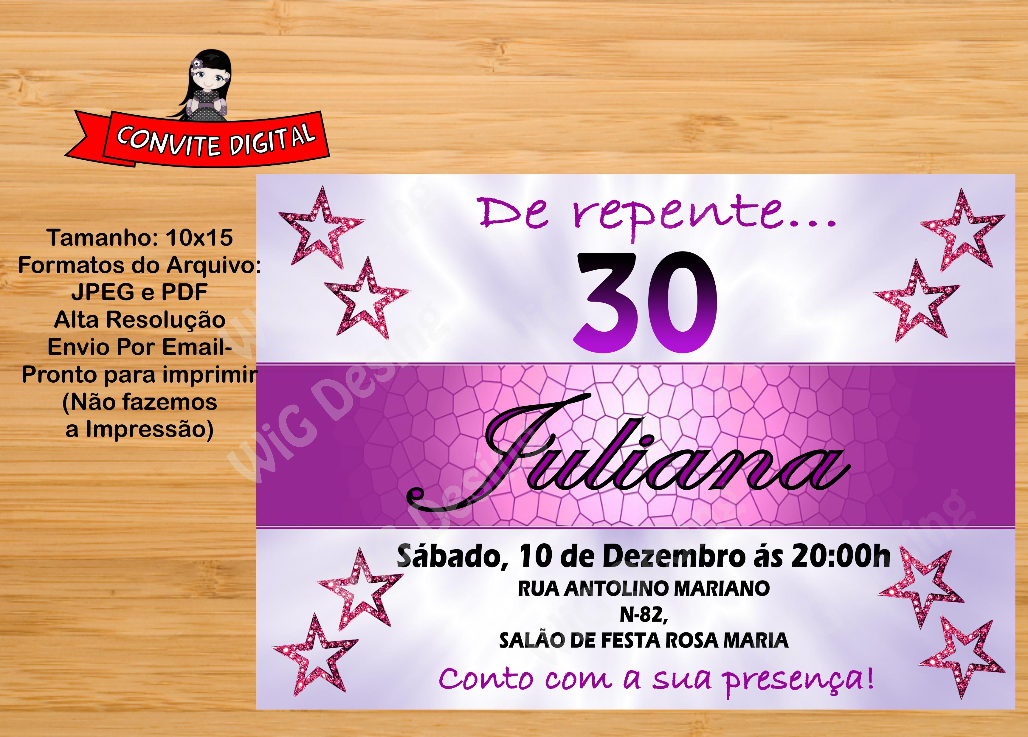 Convite De Aniversario Adulto Elo7
