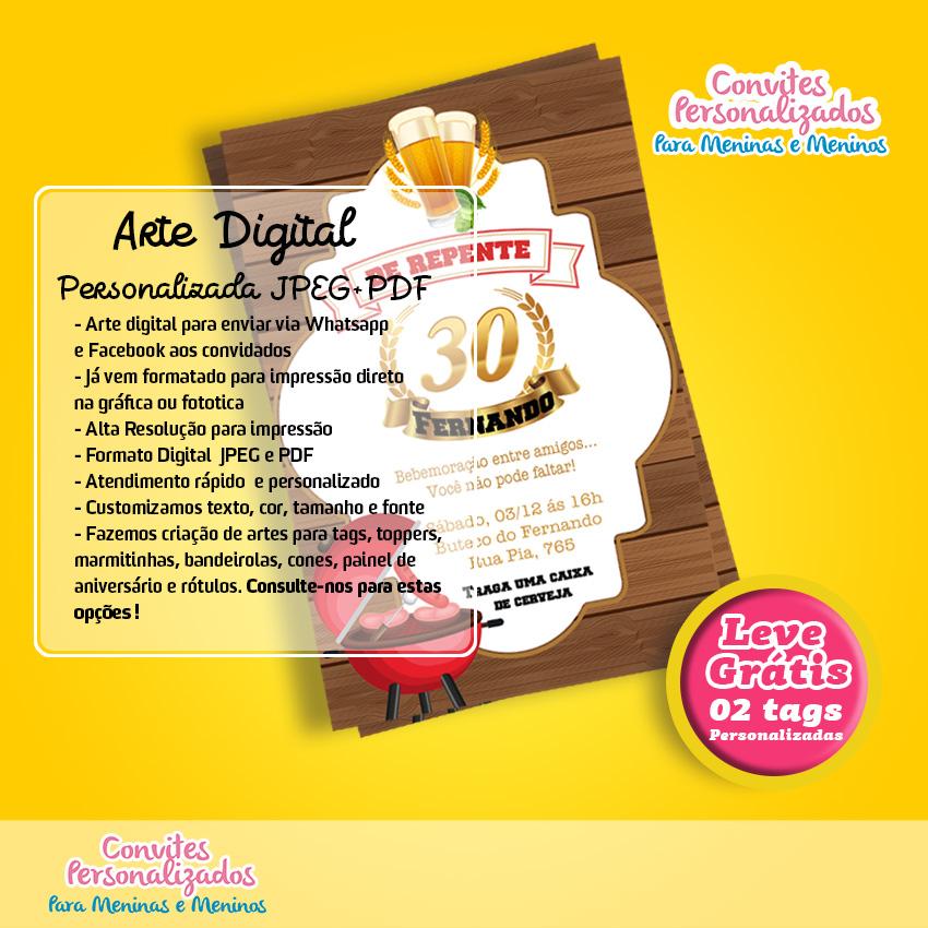 Convite 30 Anos Homem Boteco Jpeg Pdf Elo7