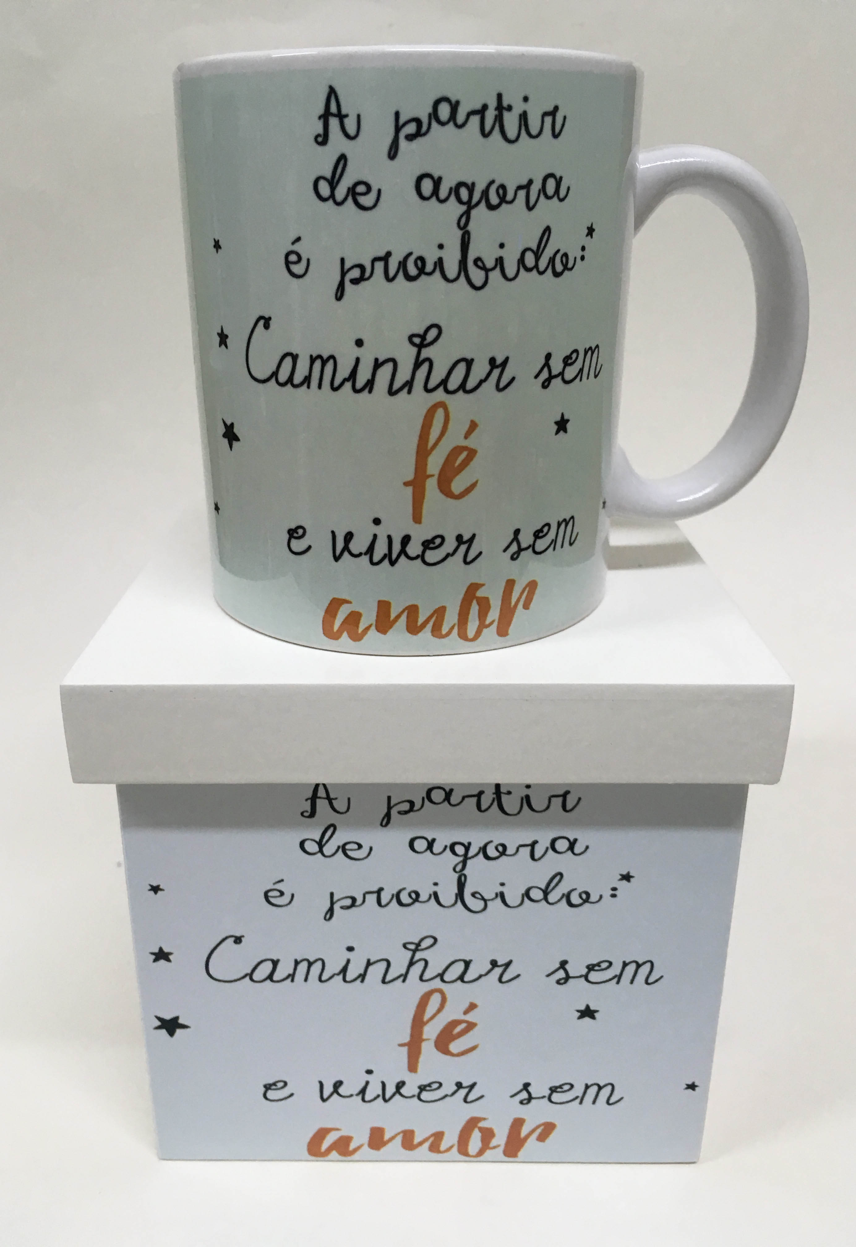 Caneca Personalizada Frase Amor Com Caixa De Mdf
