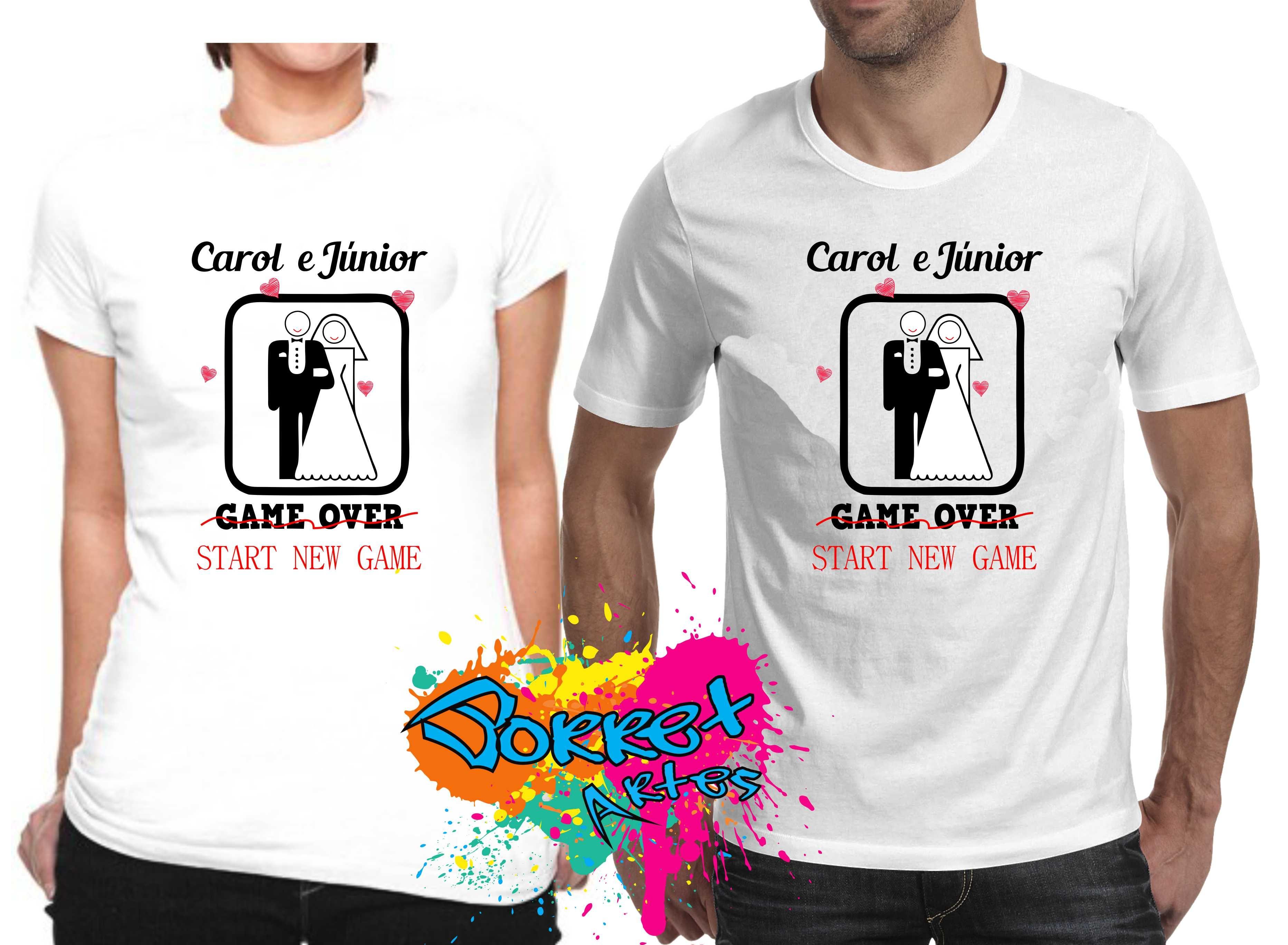 2 camisas game over x start game noivos no elo7 borret artes 809e41